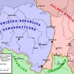 Podział Górnych Łużyc dokonany wskutek II w.ś. w maju 1945 r.